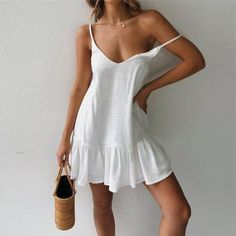Sexy Solid Color V Neck Backless Sling Dress - Summer Dresses White Shift Dresses, White Dress Summer, Sexy Dresses, 1950s Dresses, Mini Dresses, White Casual Dresses, Sexy White Dress, Casual Dress Outfits, Fall Dresses