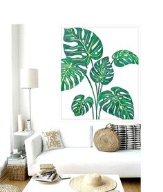 This post contains a collection of design inspiration featuring palm fronds and banana leaf tropical prints. This design element is popular for Tropical Home Decor, Tropical Houses, Tropical Interior, Tropical Furniture, Tropical Leaves, Tropical Plants, Tropical Colors, Palm Plants, Tropical Art