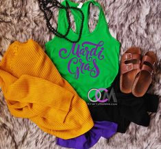 Mardi Gras Tank, King Cake Racerback, Women's Mardi Gras Tank, Mardi Gras Shirt, Fleur De Lis Tank - Racerback - One Crafty Momma Mardi Gras, Drinking Shirts, Vacation Shirts, Funny Shirts, New Orleans, Tory Burch, Dress Up, Cute Outfits, Cake