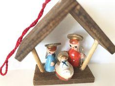 Vintage Christmas Tree Ornament Wooden Nativity Feri Italy by NeatoKeen on Etsy Vintage Christmas Images, Retro Christmas, Wooden Figurines, Christmas Tree Ornaments, Hanukkah, Floating Shelves, Nativity, Delicate, Mid Century