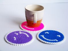 pixel bead faces coasters hama bead by freepeoplee