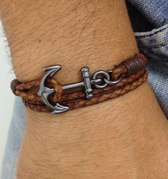 Mens bracelets anchor style navy
