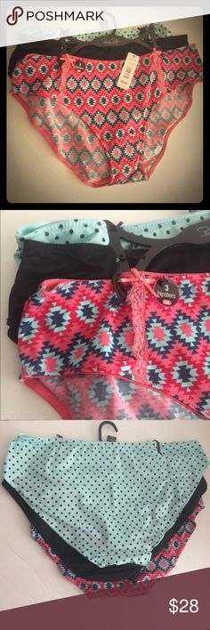Rene Rofe' bundle of 3 hipster underwear NWT! Rene Rofe' bundle of 3 hipster underwear NWT! There are 3 different colors: 1) Aztec print 2) plain black 3) mint green polka dots. Material is 90% polyester/10% spandex. Rene Rofe Intimates & Sleepwear Panties