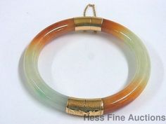 1950s Genuine Jade 14K Gold Rust Russet to Green Vintage Hinged Bangle Bracelet