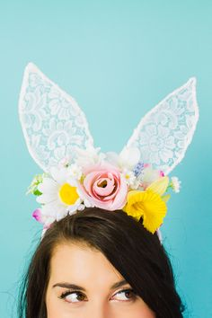 DIY bunny ears floral flower crown easter spring tutorial with faux flowers and lace flower girl accessories Lace Bunny Ears, Bunny Ears Headband, Ear Headbands, Hen Party Accessories, Diy Hair Accessories, Quirky Wedding, Wedding Blog, Spring Wedding, Diy Wedding