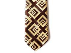 Vintage Men Necktie Brown Golden Tie Man by PortugueseWonders #necktie #golden #brown #vintage #vintagenecktie #men #man #vintageaccessories #mengifts #mangifts #manaccessories #squares #geometric #geometricdesign #tie #vintagetie #retro #vintagefashion #menfashion #manfashion #retronecktie