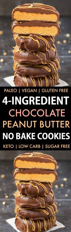 4-Ingredient No Bake Chocolate Peanut Butter Cookies (Paleo, Vegan, Keto, Sugar Free, Gluten Free)-An easy recipe for chocolate peanut butter no bake cookies using just 4 ingredients! Easy, delicious low carb cookies which take less than 5 minutes to whip up- The perfect snack or holiday gift. #keto #ketodessert #nobake #cookies #peanutbutter   Recipe on thebigmansworld.com