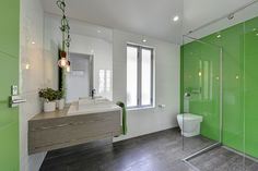 Timber + Green Glass + Subway tiles  Luisa Interior Design bathroom.