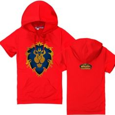 World of Warcraft red short sleeve hoodie for men lion hooded t shirt plus size
