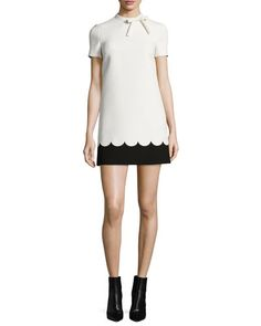 RED VALENTINO Short-Sleeve Two-Tone Scallop Dress, Ivory/Black. #redvalentino #cloth #