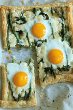 Asparagus Tart with Egg and Goat Cheese (on puff pastry) – a great vegetarian addition to your breakfast, brunch or appetizer table spread!