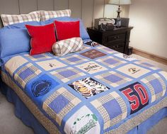 How to make a t-shirt quilt: download Marie Osmond's free pattern and make fun memories with that growing t-shirt pile!