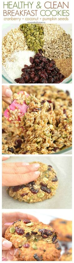Clean Oatmeal Cookies | Easy cranberry coconut cookies | dairy free gluten free Clean breakfast cookies for an healthy grab and go breakfast