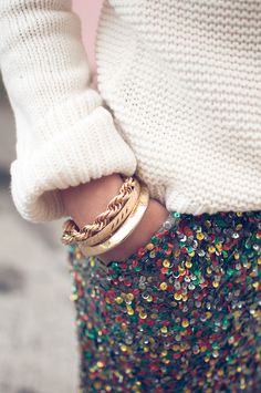 Sweater, gold stack, sequin