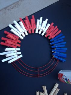 Clothes Pin Wreath for 4th of July