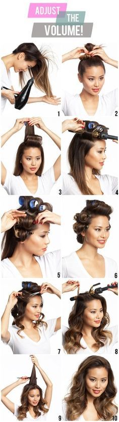 1. Add volumizer to your root. Blow dry upside down 2. Put up in bun 3. Once hair has cooled, take down and roll the center section in velcro 4. curl remainder of hair up and back 5. Continue curling and setting them in clips or with large bobby pins. 6. set for 15mins 7. Take everything down slowly 8. Curl the top pieces from velcro roller 9 Tease the crown a little 10. Mist with hairspray