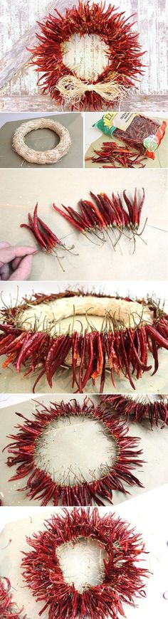 Add some serious spice to your home with a chili pepper wreath! Great for any season and any time of year, this is a great DIY that adds a fiery touch to su casa. www.ehow.com/...