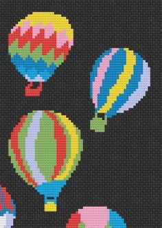 Hot air balloons cross-stitch Digital PDF file by Lavionka