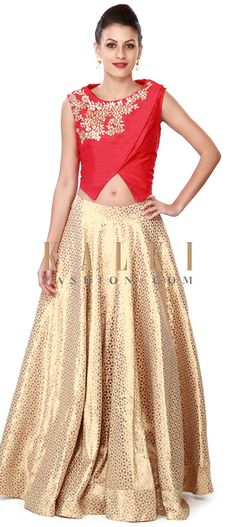 Buy this Off white lehenga matched with red blouse only on Kalki