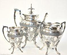 Exceptional Antique Victorian Silver Meriden Ornate Floral Garden Tea Set