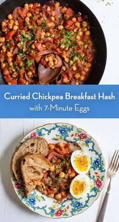 This curried chickpea breakfast hash with eggs is comforting and delicious, requiring only a few pantry staples! Chickpea Recipes, Vegetarian Recipes, Healthy Recipes, Brunch Recipes, Breakfast Recipes, Hash Recipe, Curry Spices, Fire Roasted Tomatoes, Quick Weeknight Meals