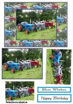 tractors  on Craftsuprint designed by Heather Howes - men love tractors something different for a super card - Now available for download!