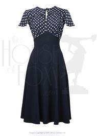 40s Grable Tea Dress - Navy Polka
