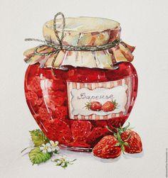 Купить Баночка клубничного варенья - ярко-красный, акварель, варенье, клубника, банка, баночка