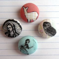 fabric covered buttons- love the prints on them!