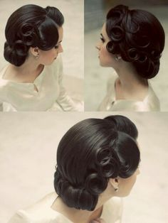 Vintage wedding hairstyle, vintage updo, vintage curls