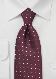 Polka Dot Tie in Bordeaux