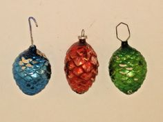 Light paint wear, the blue one has a chip at the top and the orange one has a hole at the bottom. Vintage Christmas Ornaments 1950s, Rustic Christmas, Holiday Ornaments, Christmas Wreaths, Christmas Bulbs, Pinecone Ornaments, Retro Christmas, Vintage Holiday, Christmas Nails