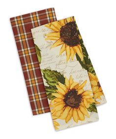 Rustic Sunflower Dishtowel - Set of 2. Help keep the kitchen and dishes spic and span with the help of these colorful dish towels crafted from soft cotton. Includes two dishtowels28'' W x 18'' H100% cottonImported Sunflower Colors, Sunflower Design, Sunflower Print, Dish Towel Crafts, Dish Towels, Kitchen Dishes, Kitchen Towels, Sunflower Kitchen Decor, Rustic Wood Walls