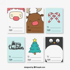 Coleção bilhetes Natal Vetor grátis