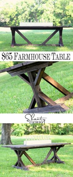 DIY Antropologie Inspired Fancy X Farmhouse Table {gorgeous harvest table!} For a nice picnic table for the backyard Diy Dining Table, Diy Farmhouse Table, Dining Rooms, Farmhouse Windows, Outdoor Dining, Outdoor Tables, Rustic Outdoor, Farmhouse Furniture, Farmhouse Chic