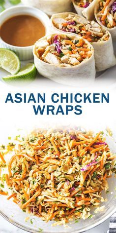 Asian Chicken Wraps with Thai Peanut Sauce. An easy and healthy chicken wrap recipe that's. Chicken Salad Recipes, Healthy Chicken Recipes, Cooking Recipes, Healthy Chicken Wraps, Healthy Wrap Recipes, Chicken Wrap Recipes Easy, Healthy Food, Chicken Appetizers, Fast Recipes