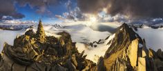 General 2500x1100 nature landscape mountains snow clouds panoramas sunset sky sun rays mist horizon summit