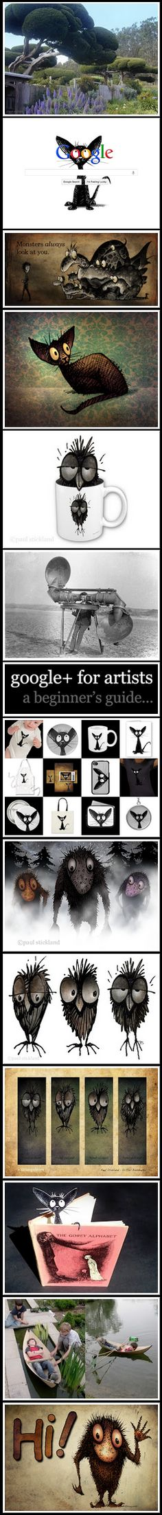 Paul Stickland Art on Google Plus. Click through for an amazing pinterest style presentation.    . #strangestore #googleplus #cats #owls