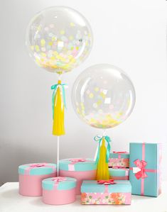 Eanjia Color Unicorn Confetti Balloon Set of 2, 20th,30th Happy Birthday Party Decoration with Yellow Tassel Bowknot DIY Kit Bubble Balloon No Need Helium (Color Unicorn)