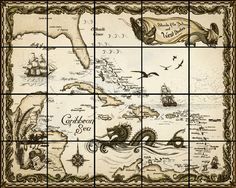 old nautical chart, Caribbean, nautical chart, ink drawing, painting, savanna redman, antique, map, #tiles #TilesTuesday