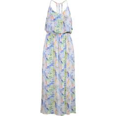 SheIn(sheinside) Multicolor Spaghetti Strap Floral Chiffon Maxi Dress ($19) ❤ liked on Polyvore