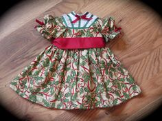 American Girl Christmas Dress - Red, Green, Gold - Holiday 18 inch Doll - Christmas Doll Dress - Historical AG Doll Dress - 18 Inch Gown