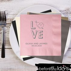 Love With Leaves Personalized Wedding Napkins Reception Party