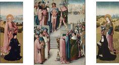 workshop ofHieronymus Bosch(circa 1450–1516) Ecce Homo TriptychDatecirca 1496-1500Mediumoilon oak panelDimensions73 × 57.2 cm (28.7 × 22.5 in) (central panel), 79.4 × 35.9 cm (31.3 × 14.1 in) (left wing), 79.7 × 36.8 cm (31.4 × 14.5 in) (right wing)Current location  Museum of Fine Arts Boston