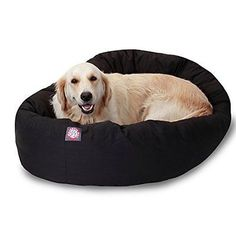 Animals Dog: 40 Inch Black Bagel Dog Bed By Majestic Pet Products - New Open Box BUY IT NOW ONLY: $39.76