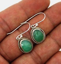Chrysoprase earrings Silver 925 Sterling Jewelry natural gemstone handmade 3 gm