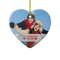 Personalized Photo First Christmas Together Heart Christmas Tree Ornament