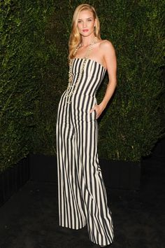 Rosie Huntington Whiteley striped strapless jumpsuit from with a blue leather jacket from the Cruise Versailles Collection Rosie Huntington Whiteley, Rose Huntington, Vogue, Nicole Richie, Gwen Stefani, Red Carpet Dresses, Blake Lively, Dress Me Up, Gossip Girl