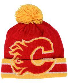 f21fa7807c9 Ccm Calgary Flames Oversized Logo Cuffed Pom Knit Hat Hat Men
