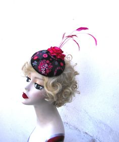 Sale 50 Off Pink and Black Flower Hat Feather by BatcakesCouture, $37.95